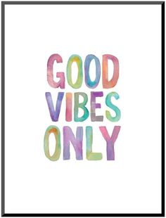 Art.com Good Vibes Only  Watercolor Mounted Wall Art Print