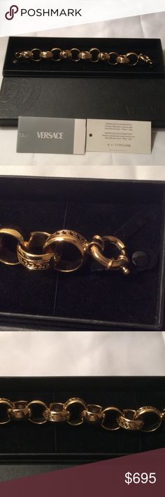 Authentic Versace Bracelet Gold hardware. Very good quality. Comes with authenticity card and box Versace Jewelry Bracelets