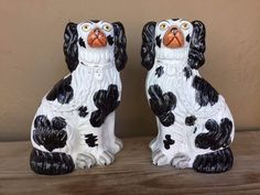 Wonderful Pair of 19th Century Black and White Staffordshire Spaniels