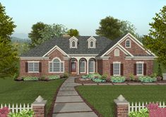 The brick exterior is accented with a Palladian window, dormers, and an inviting front porch on this 3 bedroom Ranch.  House Plan # 101168.