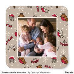 Christmas Birds 'Home For The Holidays' Photo Square Sticker @zazzle
