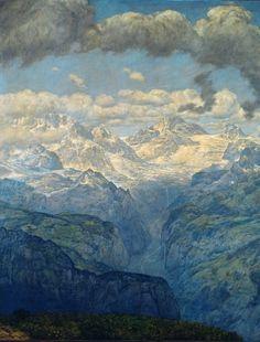 Hans Thoma - Das Lauterbrunnental )The Lauterbrunnen Valley), Mountain Art, Mountain Landscape, Landscape Art, Hans Thoma, Expressionist Artists, Sculpture, Les Oeuvres, Creative Art, Oil On Canvas