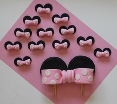 Over 60 Pieces Minnie Mouse-Inspired Cake Party Set - 3D Mickey Cake Topper, Cupcake Toppers and Fondant Dots.... $49.99