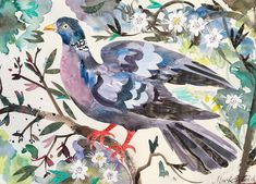 'Wood Pigeon' by Mark Hearld, 2017 (mixed media collage). A new work to be exhibited at York Open Studios (21, 22 and 23 April and 29th and 30th April 2017)