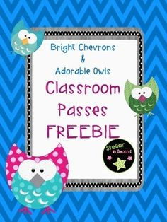 I hope you love this FREEBIE!These classroom hall passes have a vibrant chevron background (in multiple colors) and adorable owls. Great for an owl themed classroom!2 of each pass included:Girl's Bathroom PassBoy's Bathroom PassHall PassNurse PassCheck out my other Chevrons with Owl products at my store, Stellar in Second by Carlena Jelley.