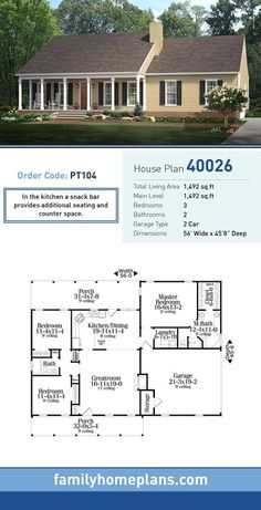 Dream house plans: House Plan 40026 - Country , Ranch Style House Plan with 1492 Sq Ft, 3 Bed, 2 Bath, 2 Car Garage Barn House Plans, Ranch House Plans, Dream House Plans, Small House Plans, House Floor Plans, Bedroom Floor Plans, The Plan, How To Plan, Country Style House Plans