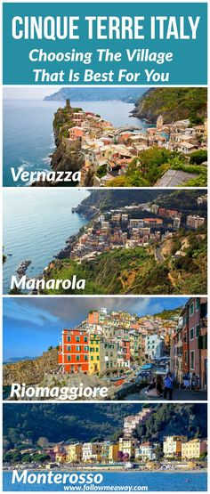 travel tips Detailed travel tips on how to choose the best Cinque Terre village for your Italy Itinerary. Cinque Terre italy villages have different feels and vibes so this will help you choose the village in Cinque Terre that is best for you! 5 Terre Italy, Cinque Terre Italia, Cool Places To Visit, Places To Travel, Travel Destinations, Italy Travel Tips, Voyage Europe, Parcs, Italy Vacation