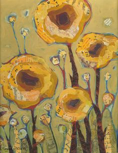 Yellow Flowers Original Painting by Shelli Walters