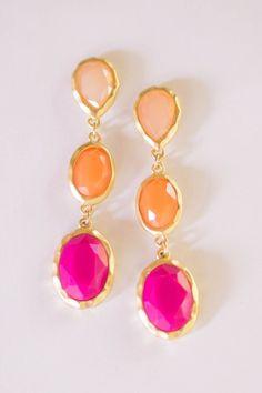 Peach, orange and pink earrings.