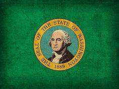 Washington State Flag on Worn Canvas