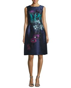 Rickie Freeman for Teri Jon Sleeveless Floral-Print Fit & Flare Dress