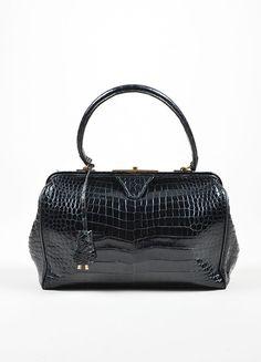 Black Hermes Crocodile Leather Satchel Frame Handbag