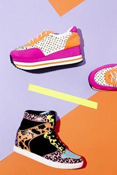 Amped Spike Sneaker (www.nastygal.com/shoes_sneakers/amped-spike-trainer) & Neon Feline Wedge Sneaker (www.nastygal.com/shoes_sneakers/neon-feline-wedge-sneaker)