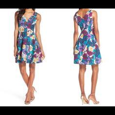 Coming soon....by Kaya & Sloane Floral Jacquard Fit & Flare Dress Color: FLORAL-MULTI , Size: L Kaya & Sloane Dresses Midi