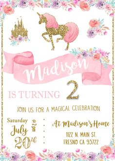 Unicorn Birthday Party Invitation Invite Magical Princess Pink and Gold Shabby Chic Watercolor Flowers Pony Horse Gold Glitter 4th Birthday Parties, Girl Birthday, Happy Birthday, Birthday Ideas, Invitation Fete, Birthday Party Invitations, Unicorn Invitations, Unicorn Themed Birthday, Party Fiesta