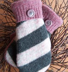 How to make mittens from a sweater. These mittens are lined with fleece and made from recycled or upcycled wool sweaters. The warmest mittens you'll ever own! Sweater Mittens, Old Sweater, Wool Sweaters, Striped Sweaters, Oversized Sweaters, Winter Sweaters, Pullover Sweaters, Knitting Patterns, Sewing Patterns