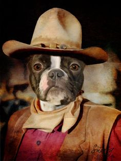 Cowboy Custom Dog Portrait by CustomPetPrints on Etsy. Custom Dog Portraits, Pet Portraits, Socializing Dogs, Westerns, Montage Photo, Pet Clothes, Dog Photos, Dog Art, Dog Training