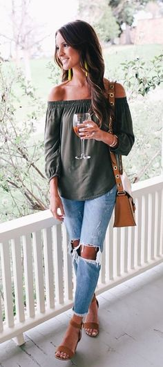 #summer #outfits Green Off The Shoulder Top + Destroyed Jeans + Nude Sandals // Shop this outfit in the link