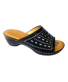 Look what I found on #zulily! Black Bejeweled Sandal #zulilyfinds
