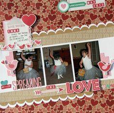 #papercraft #scrapbook #layout  Spreading the Love Layout by Kim Holmes via Jillibean Soup Blog
