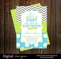 Baby shower invitations aqua, lime green about to pop baby shower digital file printable NO.167. Aqua blue polka-dot and grey chevron stripe