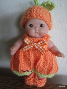 Berenguer Baby Doll Knit Pattern Pumpkin Romper Set for 5 inch lots to love itty bitty baby doll instant download. Knit Pattern to buy.