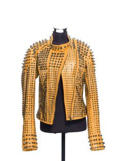 3b92eef49539 Women Orange Color Classical Real Leather Jacket Full Spiked Silver Studded  Features  100 % Genuine Cowhide Leather to MM Cowhide Milled Leather used  Fine ...