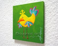 Hey, I found this really awesome Etsy listing at https://www.etsy.com/listing/248530682/yellow-bird-painting-whimsical-animal