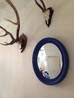 Convex mirror painted in Annie Sloan Napoleonic Blue