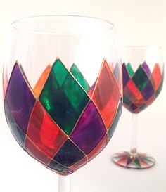 Pair of Harlequin wine glasses by ToastedGlass on Etsy, £45.00