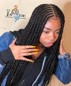 85 Box Braids Hairstyles for Black Women - Hairstyles Trends Feed In Braids Hairstyles, Black Girl Braided Hairstyles, Black Girl Braids, Baddie Hairstyles, Braids For Black Hair, Girls Braids, Girl Hairstyles, 2 Feed In Braids, Weave Braid Hairstyles