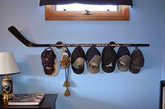 Hockey Stick hat / coat rack by HockeyStickHatRacks on Etsy