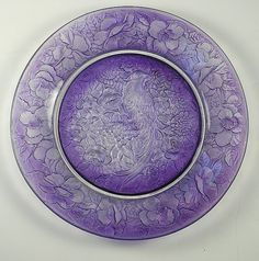 Consolidated Glass Martele Purple Wash Pheasant Plate (c. 1920s)