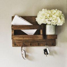 Mail Organizer (Flowers Included) , Key & Mail Holder, Rustic Organizer, Mason Jar Decor, Farmhouse Decor #affiliatelink