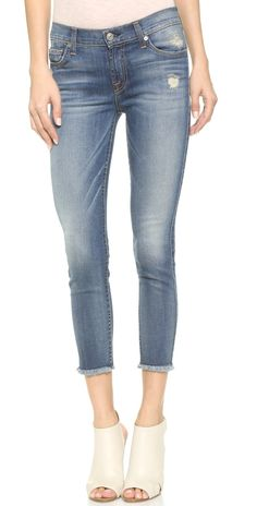 7 For All Mankind Mid Rise Ankle Skinny Jeans with Raw Hem | SHOPBOP