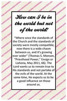 September: Commandments: How can I be in the world but not of the world