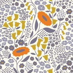 off-white 'Morning Song' purple orange flower Cloud 9 organic cotton fabric Pattern Paper, Fabric Patterns, Color Patterns, Floral Patterns, Cloud 9, Morning Songs, Modes4u, Motif Floral, Wedding Art