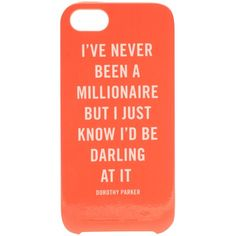 Kate Spade New York Millionaire Quote iPhone 5 Case by None, via Polyvore Che la stagione abbia inizio: Welcome Summer! by robertazl, via Polyvore Che la #tagione abbia inizio: #Welcome #Summer ! @hm @Victoria Brown Beckham @Kat Ellis spade new york @Dior #accesories #bag #look