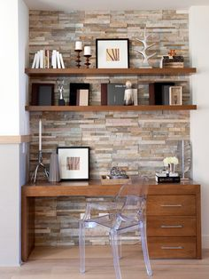 A Study in Textural Splendor: Exquisite Home Offices with Stone Walls Home Office Design, Home Office Decor, House Design, Home Decor, Home Office Closet, Guest Room Office, Contemporary Interior Design, Decor Interior Design, Contemporary Office