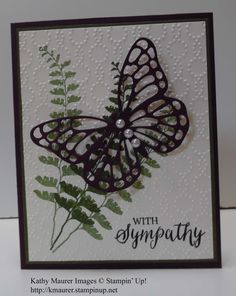 Sympathy Card made with Stampin' Up!'s Butterfly Basics Stamp Set. For details, go to my Thursday, April 7, 2016, blog at http://kmaurer.stampinup.net