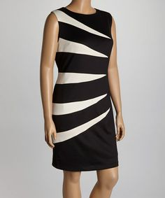 76d8cc3ae45 R M Richards Black   White Scuba Splice Dress - Plus