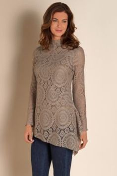 Elyese Top - Crocheted Lace Blouse, Lace Top, High Neck Top | Soft Surroundings