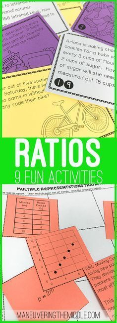 Ratio Activity Bundle - math activities to make your lesson plans a snap! Ratios and proportions with hands on activities and interactive notebook tasks for the middle school class. | maneuveringthemid...