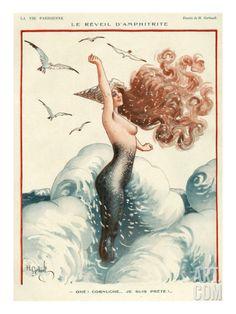 Love the artwork in this mermaid illustration. La Vie Parisienne, 1924 H Gerbault (artist) Vintage Mermaid, Mermaid Art, Mermaid Pics, Pin Up Mermaid, Mermaid Images, Mermaid Room, Sirena Pin Up, Sirens, Stars D'hollywood