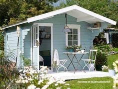 Large pastel garden shed - In Need Of Shed Color Ideas? British bunting on a garden shed. A beautiful shabby chic garden shed. shed design shed diy shed ideas shed organization shed plans Backyard Sheds, Outdoor Sheds, Backyard Landscaping, Garden Sheds, Garden Shed Room Ideas, Shabby Chic Interiors, Shabby Chic Cottage, Small Garden Kitchen, Backyard Kitchen