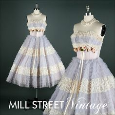 Vintage 1950s Dress  Lilac Tulle  Ivory Lace  by millstreetvintage, $245.00