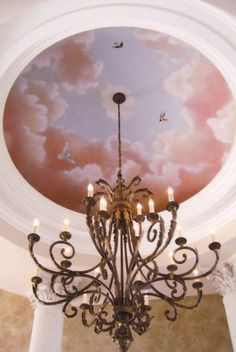 Painted Ceiling Murals using trompe l'oeil and faux finishes to create illusions on ceilings.domes, vaulted, coffers or flat have become a specialty of Art Effects. Ceiling Painting, Ceiling Murals, Wall Murals, Bedroom Murals, Bedroom Ceiling, Bedroom Decor, Pink Ceiling, Dome Ceiling, Sky Pink