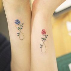 22 Awesome Sibling Tattoos for Brothers and Sisters small infinity with flowers tattoos for women - Twin Tattoos, Sibling Tattoos, Bff Tattoos, Best Friend Tattoos, Trendy Tattoos, Tatoos, Tattoos For Friends, Sleeve Tattoos, Phoenix Tattoos