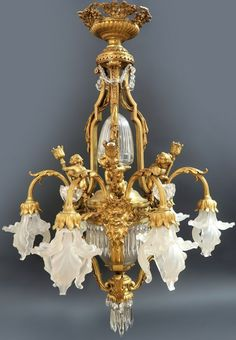 French Bronze and Crystal Chandelier, 19th/20th century.