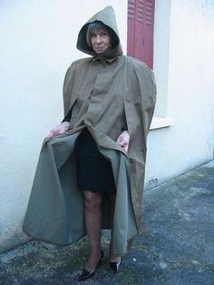French rubber-lined mackintosh cape. Rain Cape, Rubber Raincoats, Pvc Raincoat, Rain Wear, Capes, Hoods, Women Wear, Beautiful Women, Club